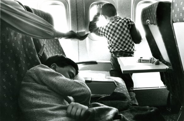 untitled from Earthquake, Armenia series [children survivors in a plane]
