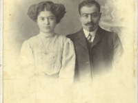 untitled (studio portrait of a sitted young husband and wife)