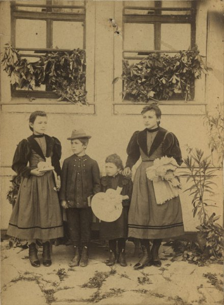 Untitled (outdoor group portrait of children)