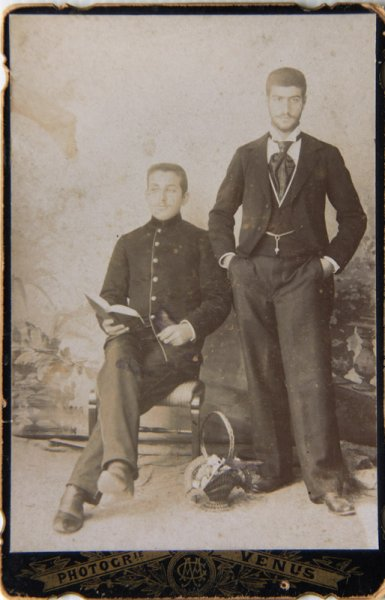 Untitled (studio portrait of two young men in moddish costumes)
