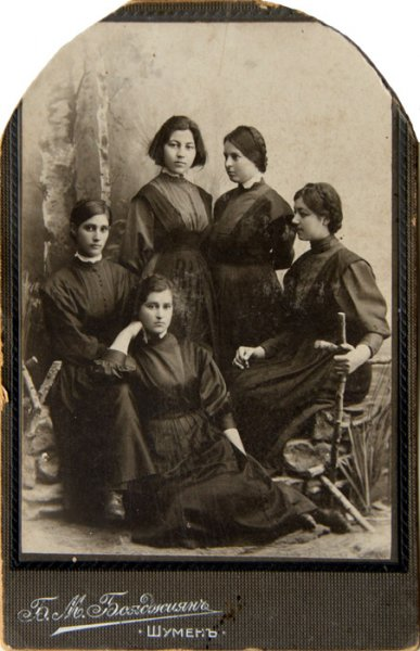 Untitled (studio portrait of five young female students)