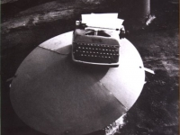 Untitled (typewriter on a roof)