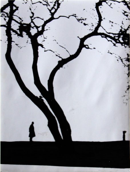 untitled (figure next to a lone tree)