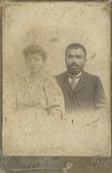 Untitled (studio portrait of a young married couple)