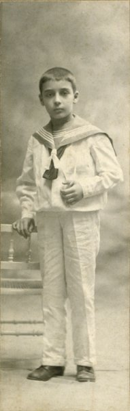 Untitled (studio portrait of a boy in a navy costume)