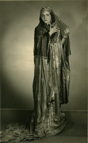 Untitled (studio portrait of a woman in a long veil)