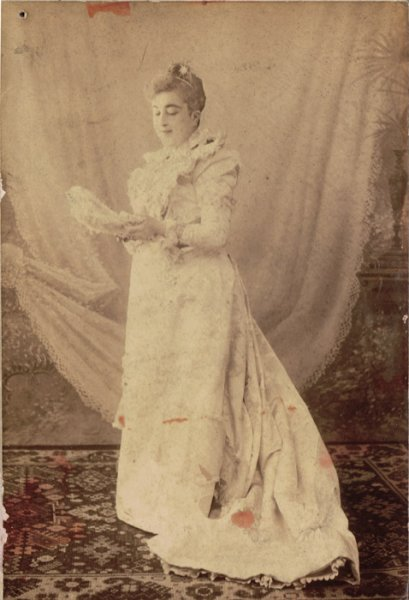 untitled (Studio portrait of a woman in a wedding gown)